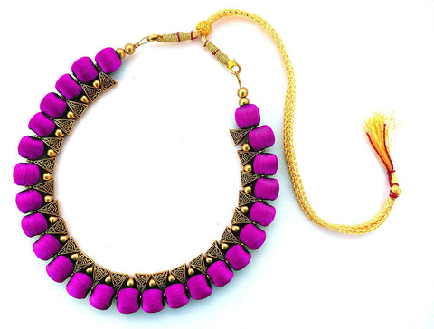 Pink Color Handmade Trendy Silk Thread Necklace - Jhanvi-004