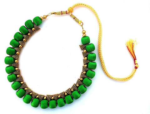 Green Color Handmade Trendy Silk Thread Necklace - Jhanvi-005