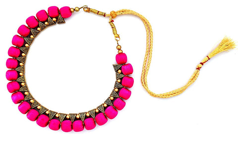 Pink Color Handmade Trendy Silk Thread Necklace - Jhanvi-006