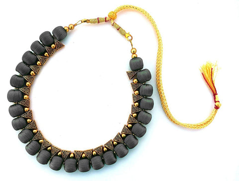 Dark Grey Color Handmade Trendy Silk Thread Necklace - Jhanvi-007