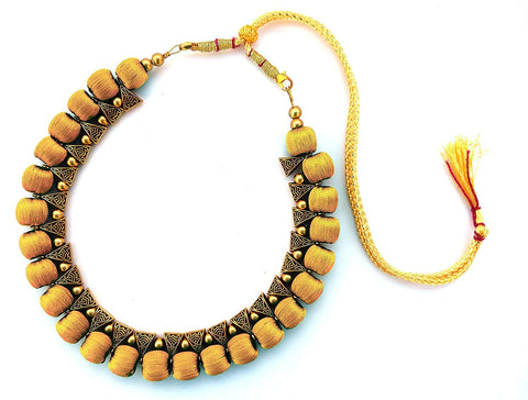 Mustard Color Handmade Trendy Silk Thread Necklace - Jhanvi-008