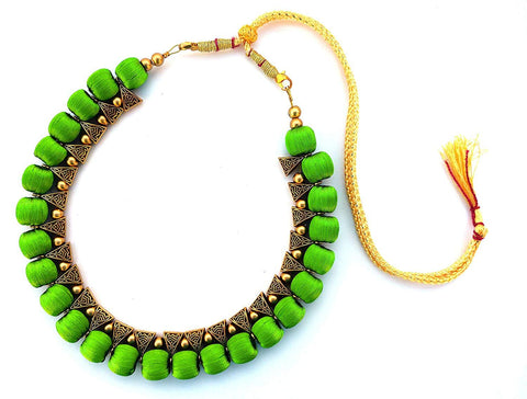 Green Color Handmade Trendy Silk Thread Necklace - Jhanvi-009