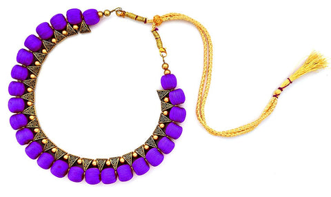 Purple Color Handmade Trendy Silk Thread Necklace - Jhanvi-010