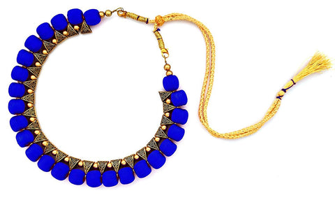 Dark Blue Color Handmade Trendy Silk Thread Necklace - Jhanvi-012