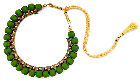 Green Color Handmade Trendy Silk Thread Necklace - Jhanvi-013