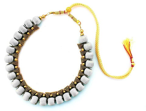 Light Grey Color Handmade Trendy Silk Thread Necklace - Jhanvi-014