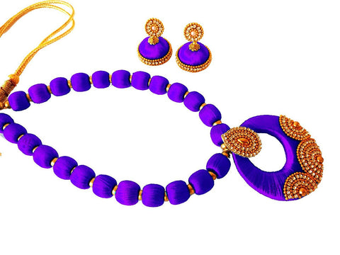 Violet Color Silk Thread Necklace Set - Jiya-005
