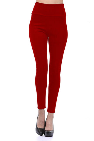 VENUSGRAB-Red Color Imported Roma Jegging - Js36-red