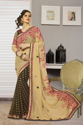 Beige Color Georgette Saree - K-2211