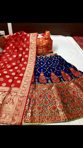 RED  GOLA- BLUE Color Banarashi silk dyeing material  Lehenga - KALI-01