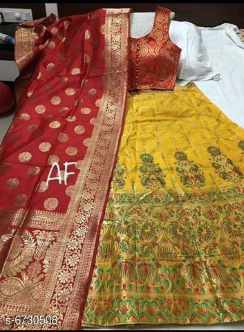 RED GOLA - YELLOW Color Banarashi silk dyeing material  Lehenga - KALI-02