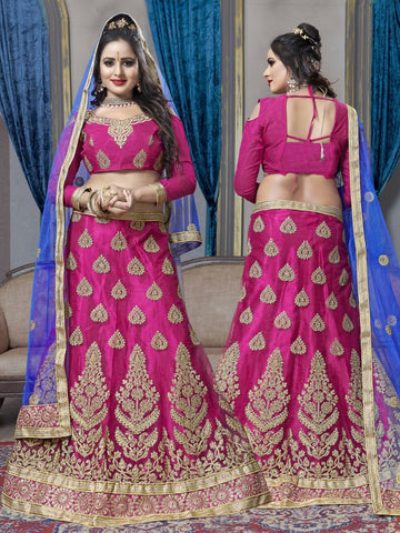 Pink Color Net Semi Stitched Lehenga - KAR60001