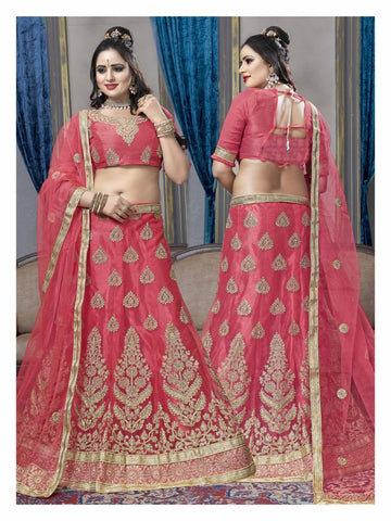 Peach Color Net Semi Stitched Lehenga - KAR60002