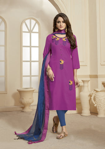 Pink Color Slub Cotton Women's Semi Stitched Salwar Suit - KAVYA1004