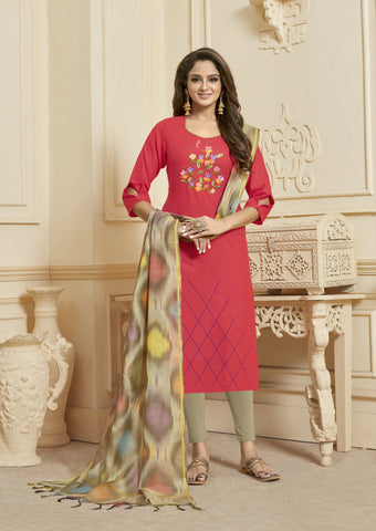 Pink Color Slub Cotton Women's Semi Stitched Salwar Suit - KAVYA1007