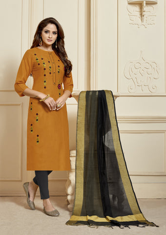 Orange Color Slub Cotton Women's Semi Stitched Salwar Suit - KAVYA1010