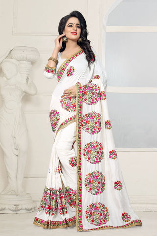 White Color Georgette Saree - KB-1053