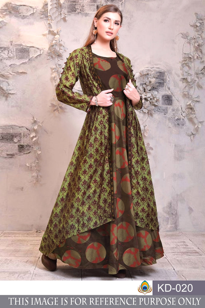 Buy Multi Color Pure Chanderi Gown