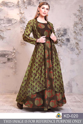 Multi Color Pure Chanderi Semi Stitched Gown - KD-020