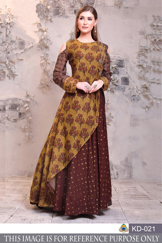 Multi Color Pure Chanderi Semi Stitched Gown - KD-021