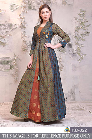Multi Color Pure Chanderi Semi Stitched Gown - KD-022