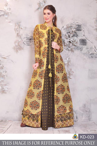 Multi Color Pure Chanderi Semi Stitched Gown - KD-023