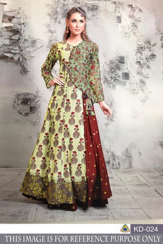 Multi Color Pure Chanderi Semi Stitched Gown - KD-024