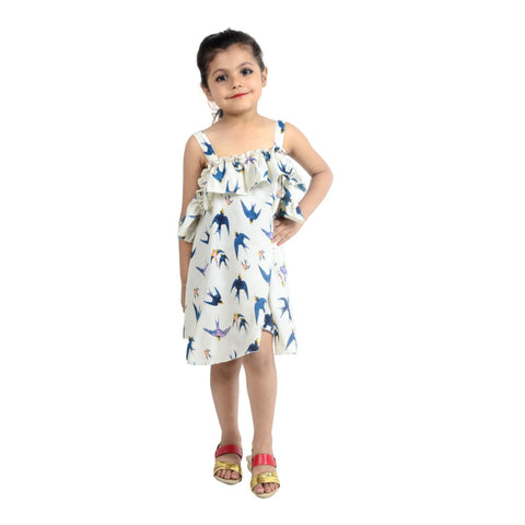 Multi Color Crepe Girl's Stitched Dress - KD02