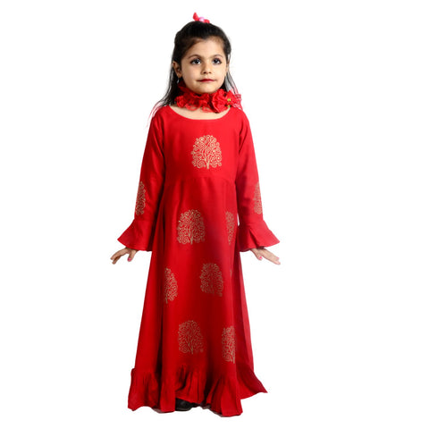 Red Color Rayon Girl's Stitched Kurti - KD04_RED