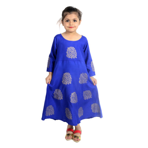 Blue Color Rayon Girl's Stitched Kurti - KD05_BLUE