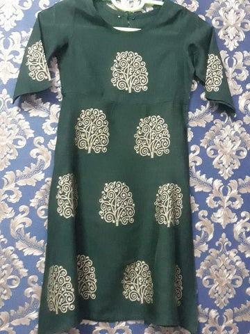 Green Color Rayon Girl's Stitched Kurti - KD05_GREEN