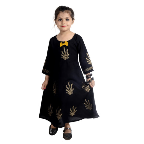 Black Color Rayon Girl's Stitched Kurti - KD07_BLACK
