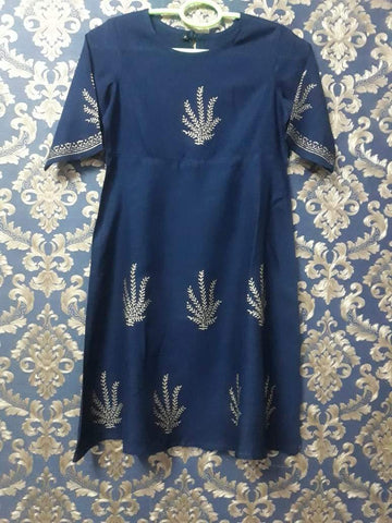 Navy Blue Color Rayon Girl's Stitched Kurti - KD07_NAVYBLUE