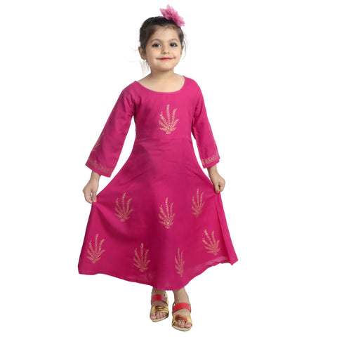 Pink Color Rayon Girl's Stitched Kurti - KD07_PINK