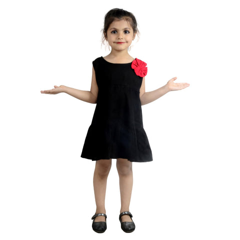 Black Color Rayon Girl's Stitched Frock - KD09