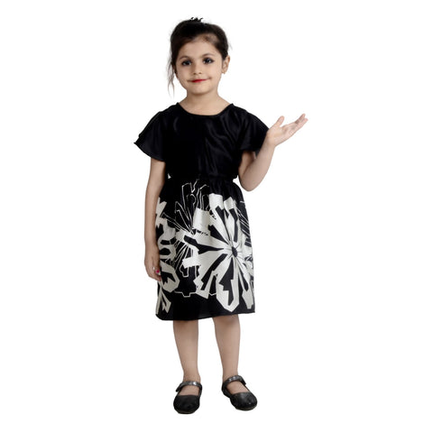 Black Color Crepe Girl's Stitched Frock - KD10