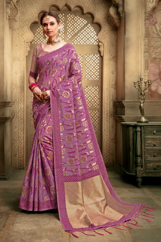 Purple Color Cotton Silk Saree - KESARIYA-13186