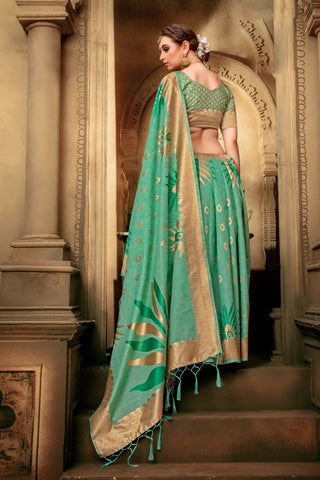 Green Color Cotton Silk Saree - KESARIYA-13187