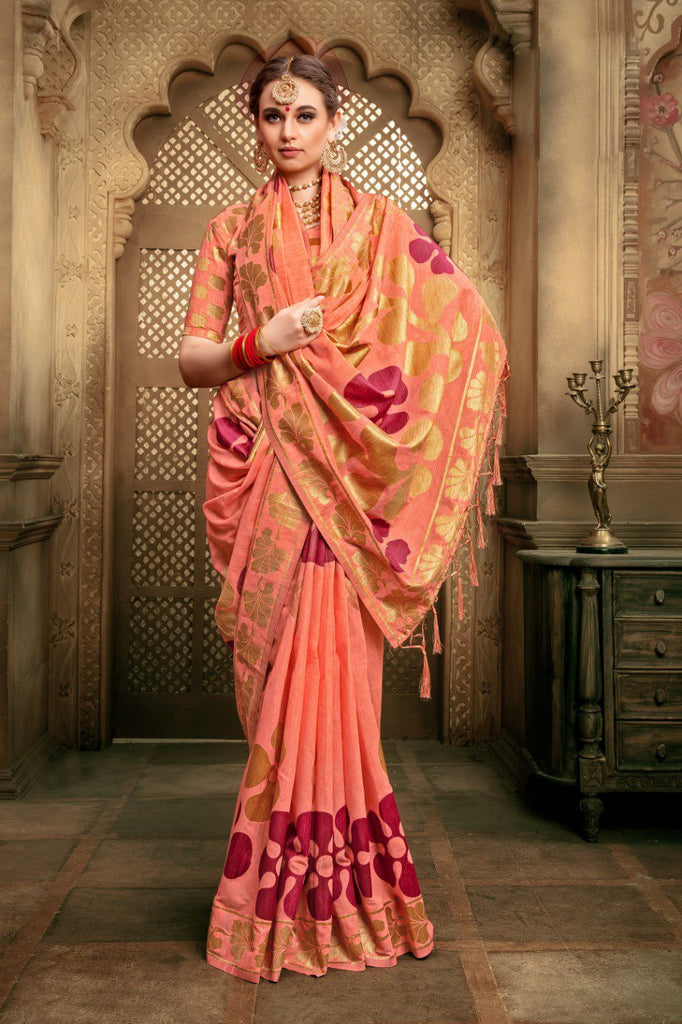 Buy Peach Color Cotton Silk Saree