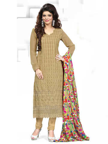 Chikoo Color Georgette Unstitched Dress Material - KFBRCRHI21001