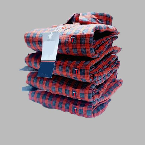 Red Color Premium Cotton Men's Checkered Shirt - KG-041119-LP-CH-1