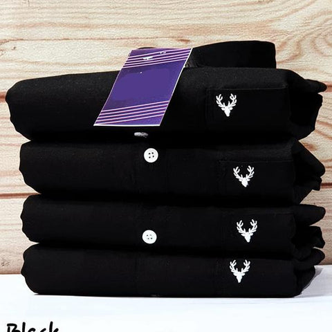 Black Color Premium Cotton Men's Plain Shirt - KG-111119-AS-PL-5