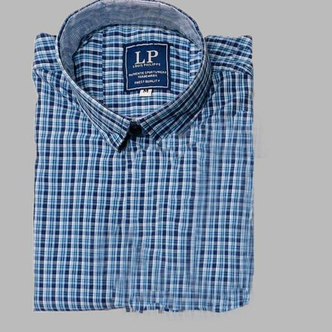 Sky Blue Color Premium Cotton Men's Checkered Shirt - KG-111119-LP-CH-11