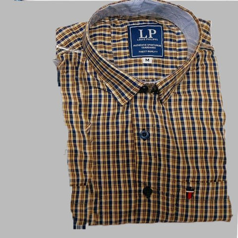 Yellow Color Premium Cotton Men's Checkered Shirt - KG-111119-LP-CH-12