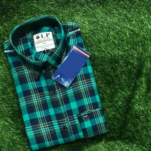 Green Color Premium Cotton Men's Checkered Shirt - KG-111119-LP-CH-1