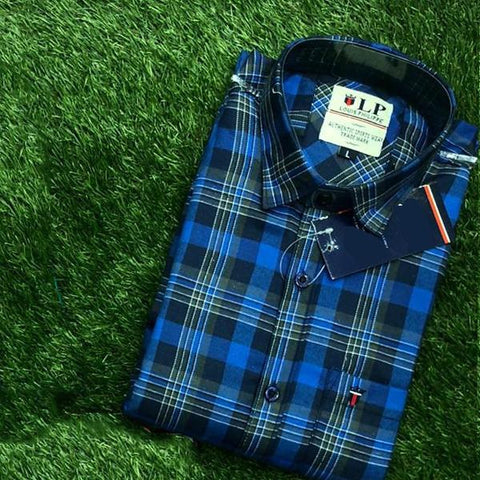 Blue Color Premium Cotton Men's Checkered Shirt - KG-111119-LP-CH-2