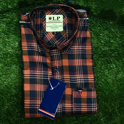 Peach Color Premium Cotton Men's Checkered Shirt - KG-111119-LP-CH-3