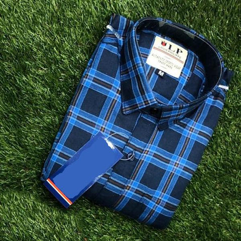 Blue Color Premium Cotton Men's Checkered Shirt - KG-111119-LP-CH-9