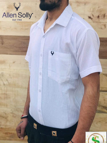 White  Color Premium Cotton Half Sleeve Shirt -KG-120220-AS-PL-10