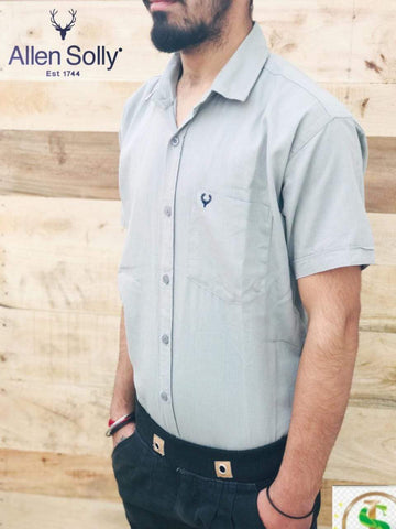 Grey Color Premium Cotton Half Sleeve Shirt -KG-120220-AS-PL-11
